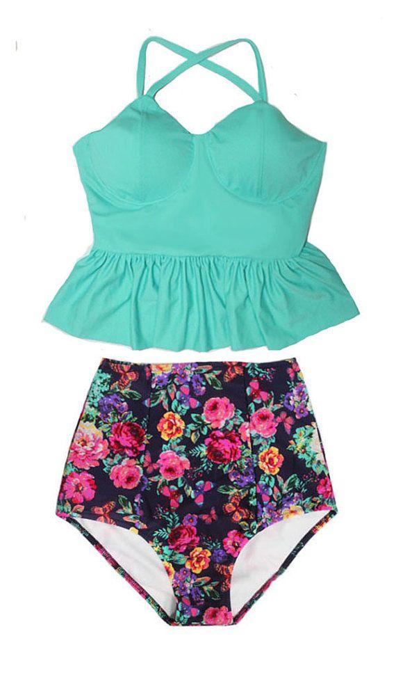 Mint Long Peplum Tankini Tankinis Top and Flora Retro High Waisted Waist Bottom Swimsuit Swimwear Swimsuits Bath suit suits set sets M L XL