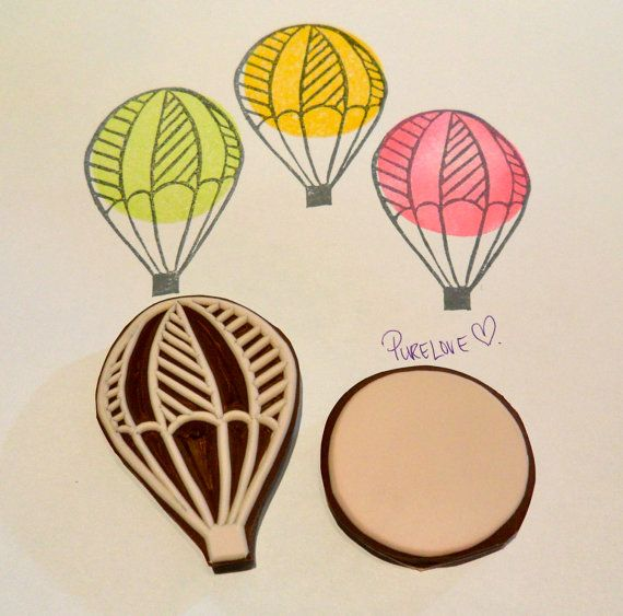 Hot Air Balloon hand carved rubber stamp eraser by PURELOVE52, $13.65
