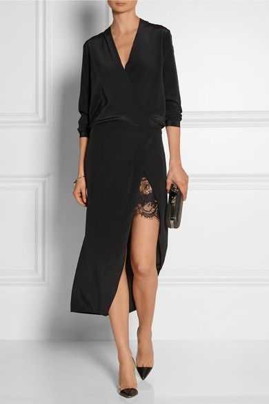 Black washed-silk georgette Concealed zip fastening along back 100% silk; contrast: 60% cotton, 40% nylon Dry clean