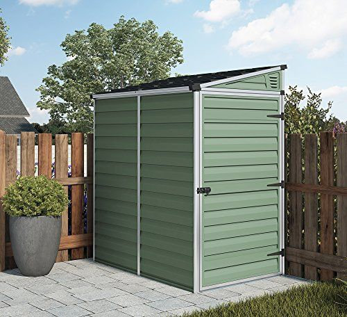 4ft x 6ft waltons pent roof skylight plastic shed in green single door ideal