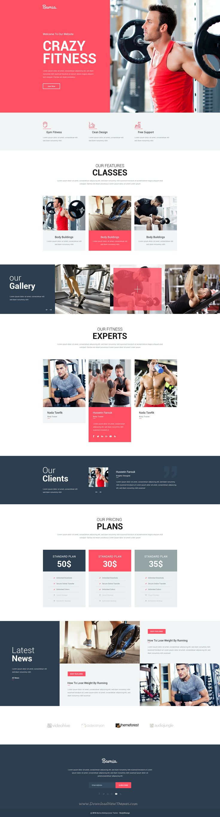 Bamia is wonderful one-page #PSD theme for Multipurpose business #website download now. #gym