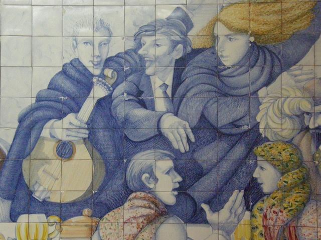Detail of Azulejo panel, Cervejaria Porgtualia, Coimbra, Portugal