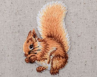 Squirrel - Brown - Facing Left - With Nuts - Acorn - Embroidered Patch - Iron on Applique - 155463-A