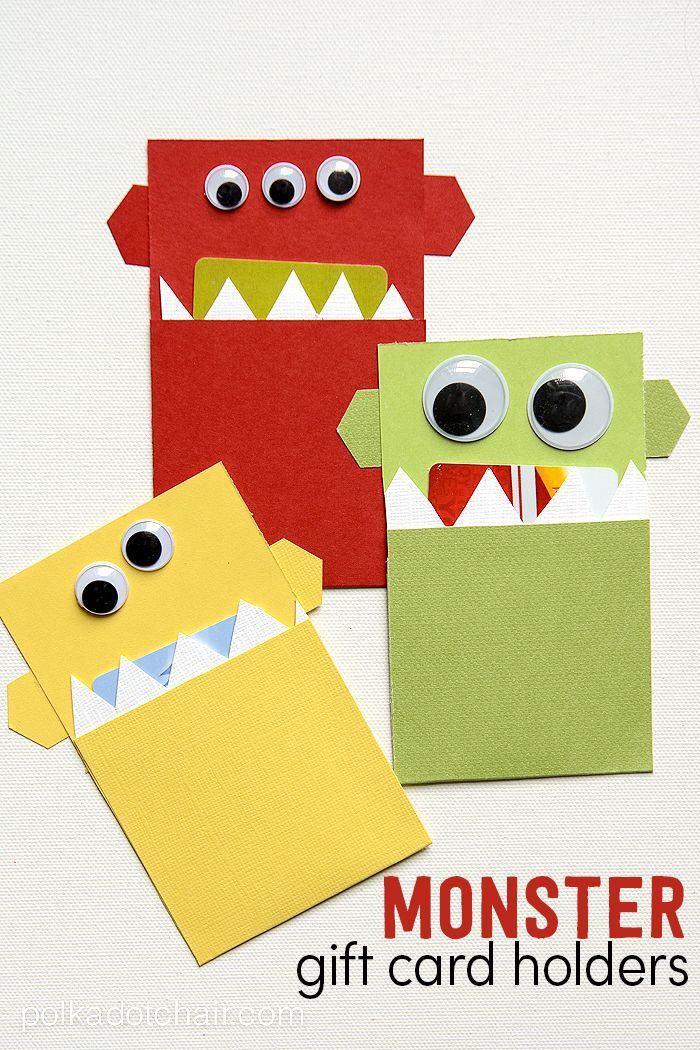 A cute and fun way to give a gift card to a kid, make a monster DIY gift card holder. Creative gift card ideas for kids for christmas