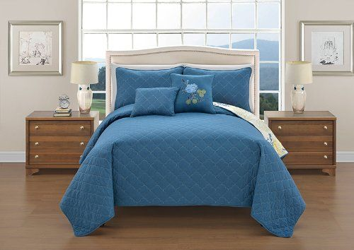 VCNY Preston 5Piece Quilt Set Queen Blue >>> Want to know more, click on the image.
