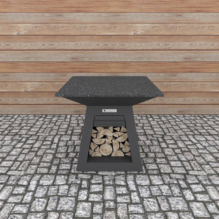 Quadro Table Carbon  Large side table for Quan Quadro. Provides space for food preparation and accessories during cooking. Includes easy to clean granite top and a drawer. Does not include a fireplace.  Dimensions (mm): H 900 W 1000 D 1000