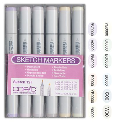 Copic - Sketch Marker Set - Pales - 12 Piece Set at Scrapbook.com $77.99