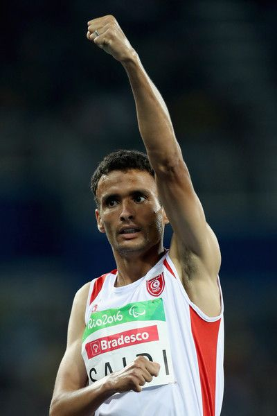 Abbes Saidi of Tunisia celebrates after winning the men's 1,500 meter T38 fnal at Olympic Stadium during day 3 of the Rio 2016 Paralympic Games on September 10, 2016 in Rio de Janeiro, Brazil.