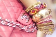 arm party - chanelChanel Handbags, Chanel Bags, Bracelets, Pink, The Mode, Bangles, Accessories, Arm Candies, Arm Parties