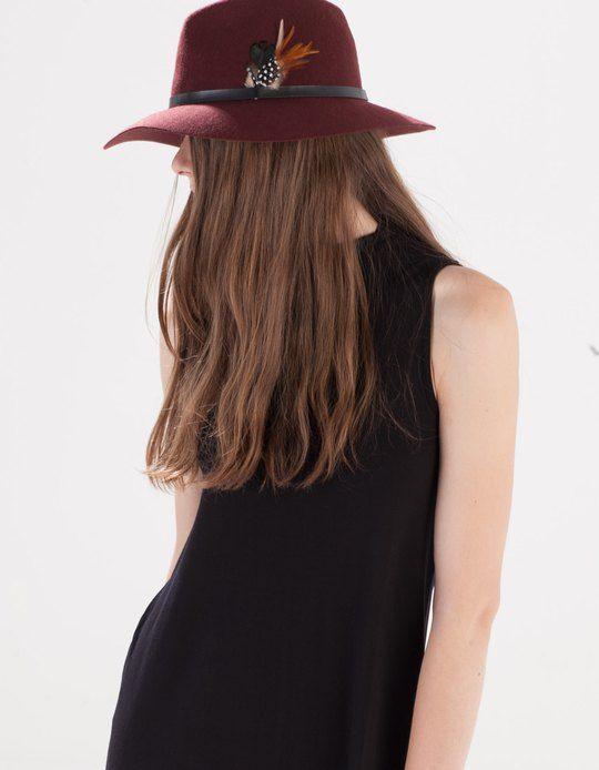 Sombrero fedora lana pluma - GORROS Y SOMBREROS - WOMAN   Stradivarius Mexico