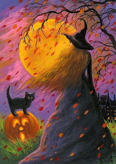 Witch black cat pumpkin Halloween moon haunted house original aceo painting art