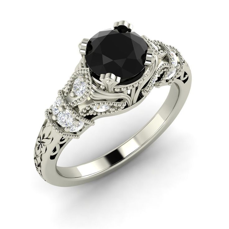 Certified Black Diamond & SI Diamond Engagement Ring In Sterling Silver -1.05 Ct - Diamond