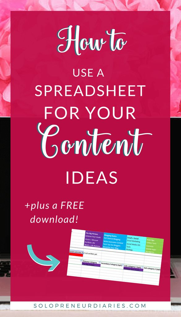 Spreadsheets are a super tool to keep up with all your content ideas & map them to an editorial calendar. Download a template that can be used in Google Sheets or Excel!  #Blogging tips and tricks | Blogging for beginners | Blogger tools #bloggingtips #freedownload