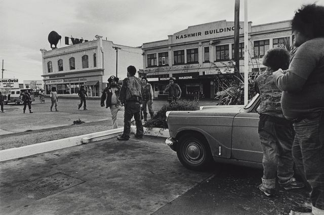 Object: Confrontation with Mongrel Mob, Colombo Street, Christchurch. From the series: Black Power, Christchurch.