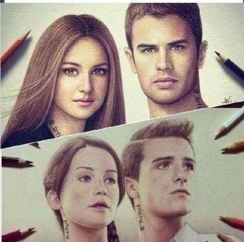 Divergent Fan Art / Hunger Games / Catching Fire / FANDOMS UNITE / Katniss / Peeta / Tris / Four