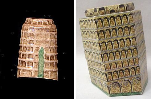 This leaning tower of Pisa thimble came in a leaning tower of Pisa shaped box