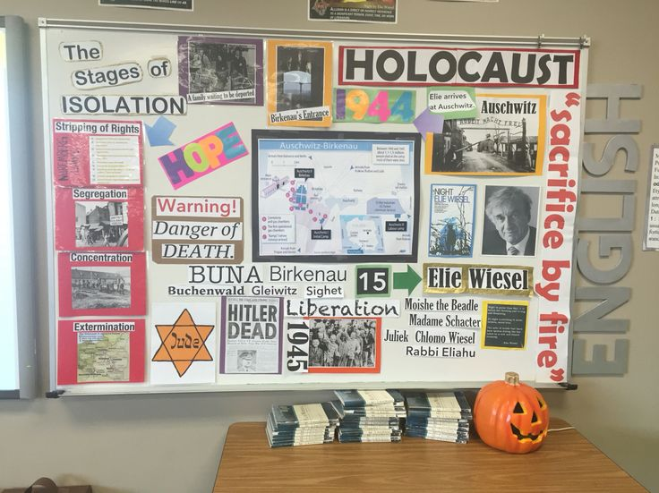 My Holocaust bulletin board in preparation for Night by Elie Wiesel!