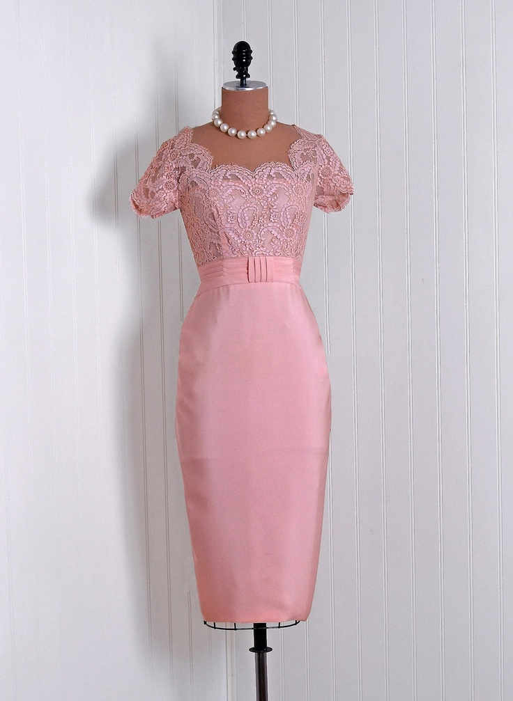 1950's Vintage Emma Domb Designer-Couture Elegant Champagne-Pink French Chantilly-Lace and Silk-Rayon Scalloped Low-Cut Plunge Cummerbund Nipped-Waist Hourglass Pencil-Wiggle Back Draped-Fishtail Bombshell Formal Wedding Cocktail Party Dress