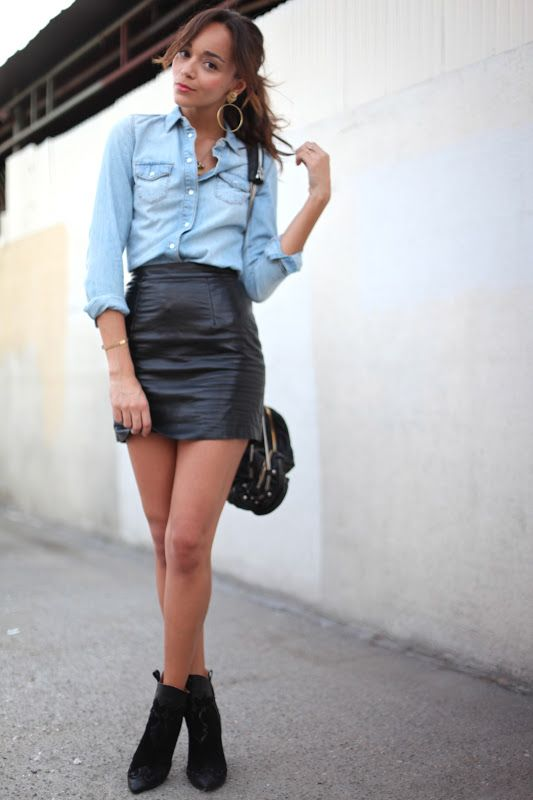Skirt: American Apparel (get the look here & here).  Shirt: TopShop. Boots: Zara.   Bag: Alexander Wang.  Earrings: ASOS.
