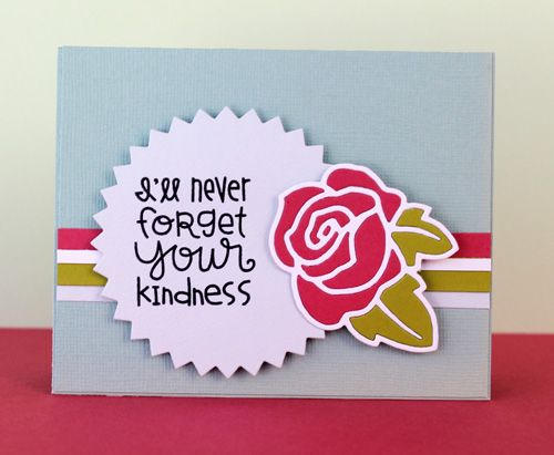 I'll Never Forget Your Kindness card by Kim Hughes for Paper Smooches Blog Hop - Spreading Sunshine, Single Rose Die, Pinked Circle Die