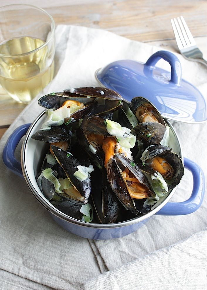 Mussels with leek and french bread | Mosselen met prei en stokbrood | www.francescakookt.nl