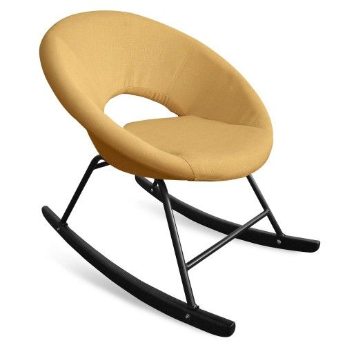 Fauteuil A Bascule Type Rocking Chair Berso Tissu Jaune Fauteuil A Bascule Tissu Jaune Rocking Chair