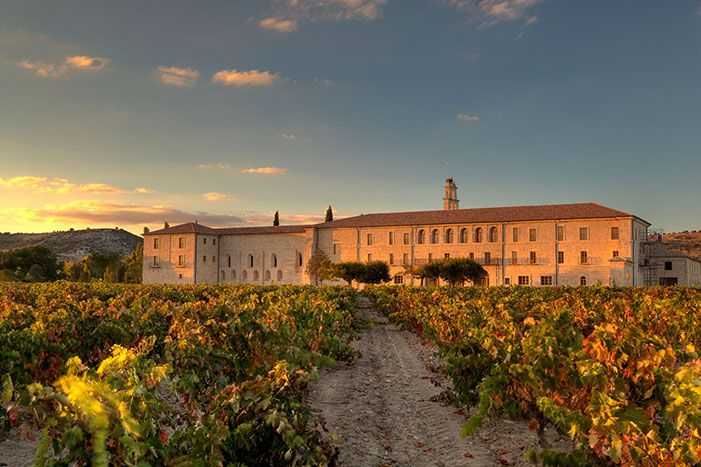 Hotel and Restaurant Abadía Retuerta LeDomaine - an elegantly restored, 12th century abbey in a vineyard near Valladolid, Spain. #RelaisChateaux #Spain #vineyard #historical