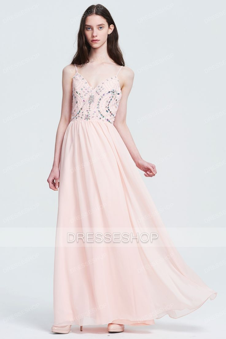 Spaghetti Straps A-line/Princess Pearl Pink Prom Dresses - Long Prom Dresses - Prom Dresses - Special Occasion Dresses - Dresshopau.com
