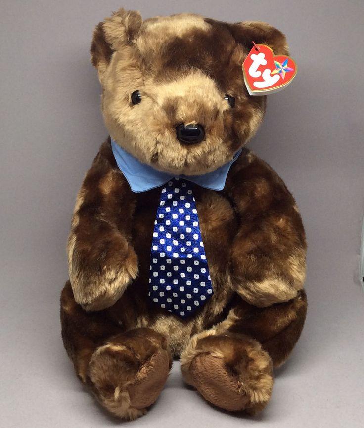 Ty Beanie Buddy Hero Bear Dad Wearing Necktie Brown Plush Stuffed Animal MWMT #Ty