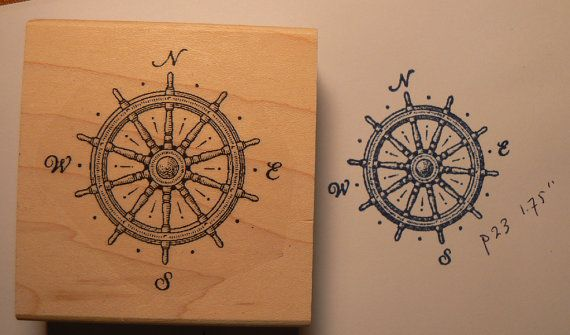Ships wheel  compas rubber stamp Wood Mounted P23 by dragonflybuzz, $8.00