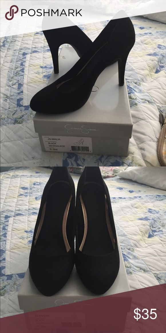 Jessica Simpson suede Black pumps size 8.5 Brand New suede black pumps. Never worn. Box included. Size 8.5. Heel height: 4in. Jessica Simpson Shoes Heels