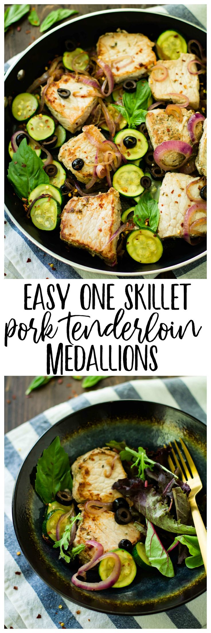 Easy One Skillet Pork Tenderloin Medallions with zucchini makes for an easy one pan meal! It's protein and veggie packed, nourishing, paleo, low carb, and ready in less than 30 minutes. You and your family will love this flavorful pork loin skillet dish, that's perfect for busy weeknights! @Smithfieldfoods @Walmart #RealFlavorRealFast #AD