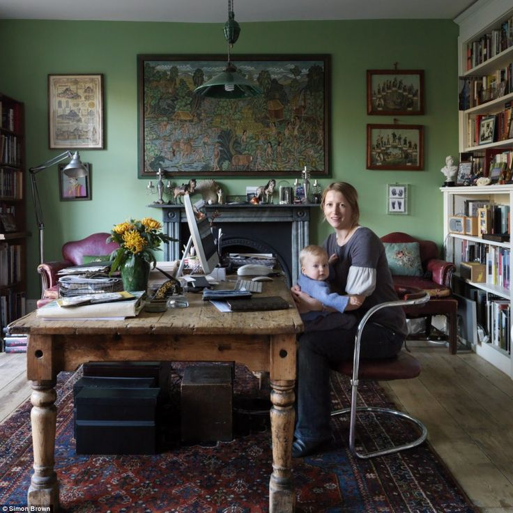 Journalist and cookery writer Daisy Garnett painted the room in Farrow  Ball's Folly Green