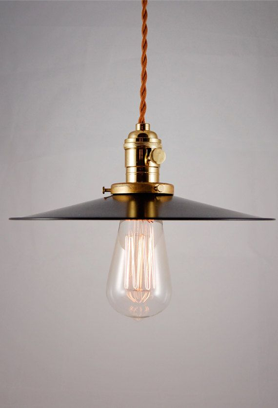 Rustic Black Enameled pendant lamp, light fixture with cloth covered cord Hillsboro