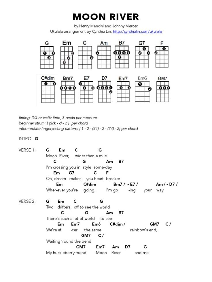 Moon River Easy Guitar Sheet Music T
