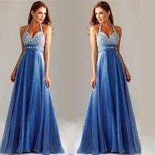 Baeybe mavi halter kolsuz kulübü parti elbise uzun maxi balo elbise yüksek bel V Yaka zarif kat uzunluk elbise abiye(China (Mainland))