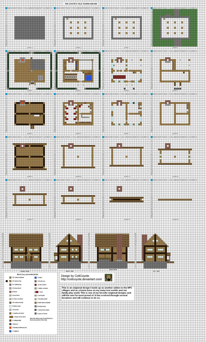 Just another updated plan of my small Inn design, with a small yard and hedge added for fluff. I will be redoing a few of my old designs in the new style for practice but will add some small detail...