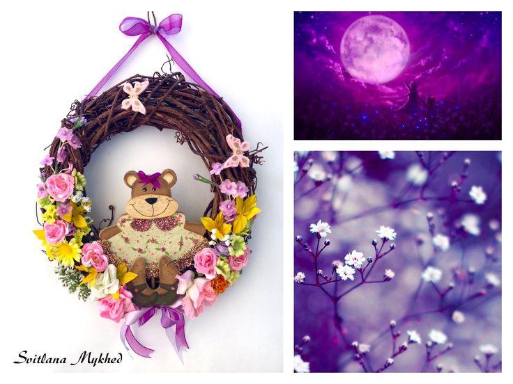 """Couronne decorative """"My little Bear"""". Creation unique ! : Accessoires de maison par perles-et-couronnes"""