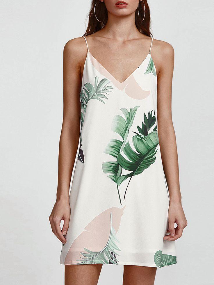 Vestido con estampado tropical con doble cuello en V - blanco -Spanish SheIn(Sheinside)