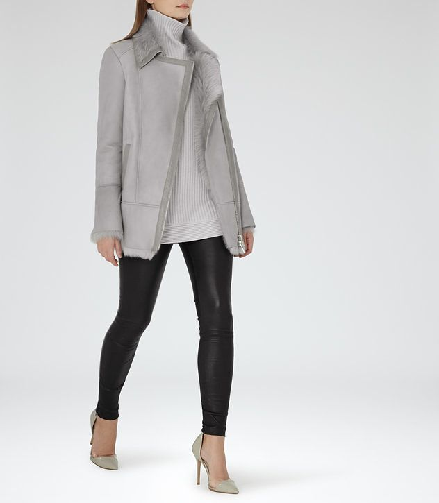 Nicole Grey Long-Haired Shearling Coat - REISS