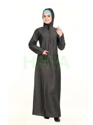 Denim hooded abaya for a chic and active look.