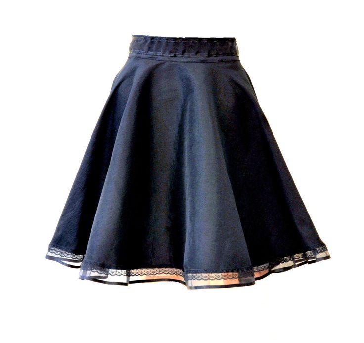 Black circle Lolita skirt Black gothic skirt by Blackpassion