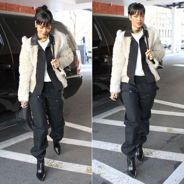Rihanna's pants are menswear! The Carhartt double-front work dungarees were used in her Complex magazine shoot last year. Get your own in Duck finish here: http://mammothworkwear.com/carhartt-firm-duck-doublefront-work-dungaree-p1777.htm