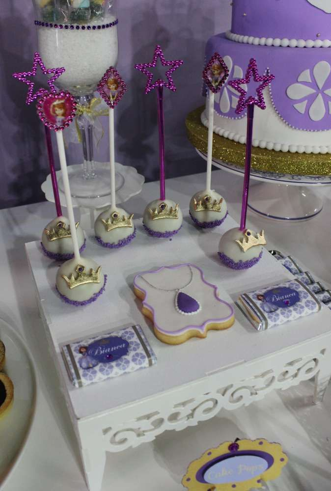 Purple Sofia the first princess birthday party! See more party ideas at CatchMyParty.com!