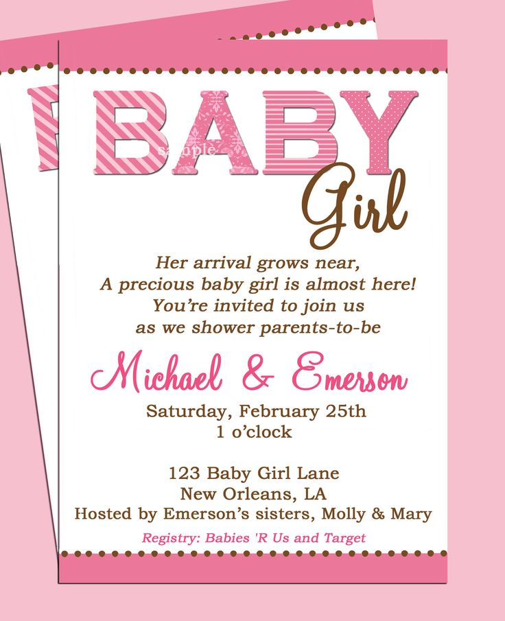baby shower invitations two layers pink frame white background baby shower invitations wording for girl