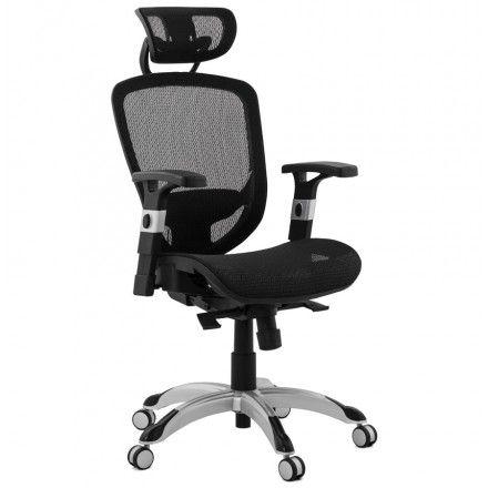 Fauteuil de bureau design et moderne ergonomique AXEL en tissu noir et en résille pour une meilleure circulation d'air.