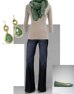 If you don't have a green skirt or dress, try an accent scarf or shoes!