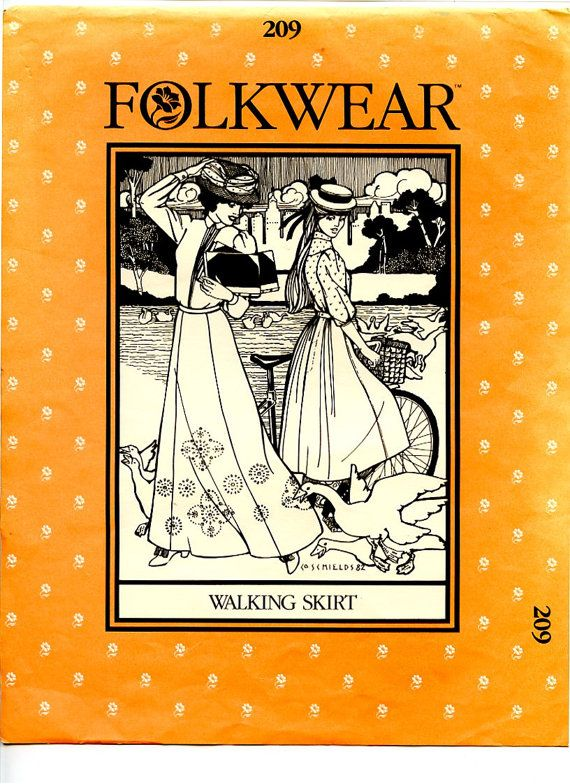 folkwear patterns   Folkwear Pattern 209 Gored Victorian Walking Skirt with Decorative ...