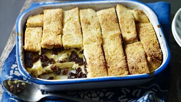 A great family favourite as pudding to follow a weekend lunch. I have to admit, the recipe is not economical – just delicious! Ideally use a rectangular dish simply because the bread fits it better. If you are not keen on sultanas, just leave them out.