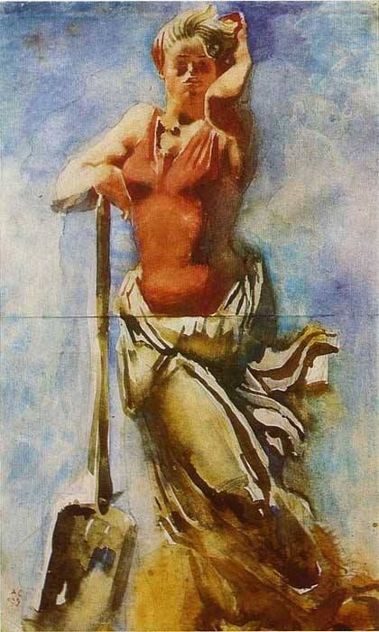 "Alexander Samokhvalov. With a spade. From ""Metrostroy Girls"" series. 1934"